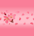 seamless pattern with pink blossoming cherry and vector image vector image