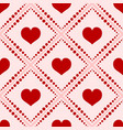 seamless red hearts pattern isolated on white vector image vector image