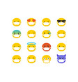 set emoticons wearing surgical protective masks vector image
