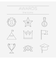 set line icons for award success and victory vector image