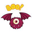 smiling cute one eyed monster cartoon flying vector image vector image