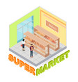 supermarket bakery department isometric vector image vector image