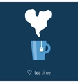 tea with heart steam vector image vector image
