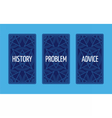 Three card tarot spread Problem solution vector image vector image