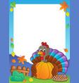 turkey bird holding pumpkin frame 1 vector image vector image