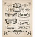 Vintage hand drawn design elements - banner set vector image