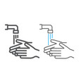 wash your hands line and color line icon wash and vector image vector image