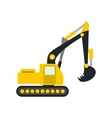 Yellow excavator flat icon vector image