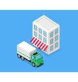 Isometric Building and Lorry Car Design vector image