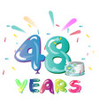 48 years anniversary celebration with cake vector image vector image