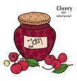 a jar cherry jam and fresh ripe cherries vector image vector image