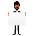 african cartoon smile man holding banner vector image vector image