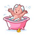 Baby bathing in pink bath with foam and rubber vector image