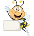 Bee Holds Sign And Waves Hello vector image vector image