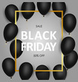 black friday sale banner with black realistic vector image