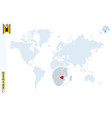 blue world map with magnifying on zimbabwe vector image vector image