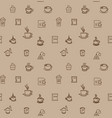 brown coffee icon set pattern seamless design vector image vector image