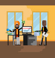business meeting indian businessman with investor vector image