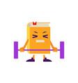 cartoon book character lifting barbell vector image vector image