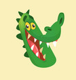 cartoon crocodile smiling head vector image vector image