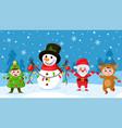 cartoon kids and snowman children in christmas vector image vector image