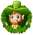cartoon leprechaun in a round circle with a smokin vector image