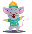 cartoon mouse in chinese suit on white background vector image vector image