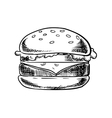 Cheeseburger with beef vegetables and cheese vector image vector image
