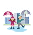 Children with umbrellas in the rain vector image