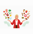 choice between healthy and unhealthy food vector image