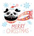 christmas card with pug vector image vector image