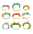 colorful speech bubbles with flowers empty dialog vector image