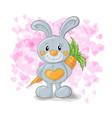 cute bunny with hearts cartoon vector image vector image