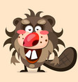 cute cartoon beaver in flat style background vector image vector image