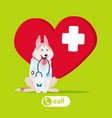 dog doctor wearing white coat and holding vector image vector image