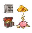 finance money set metal bank safe gold bars vector image vector image