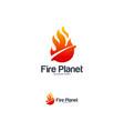 fire planet logo designs concept hot planet logo vector image vector image