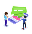 flat isometric mobile advertising concept people vector image vector image