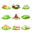 flat set of traditional indonesian sweets vector image