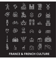 france editable line icons set on black vector image