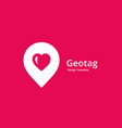 geotag with heart or location pin logo icon design vector image