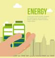 hand holding batteries city energy alternative vector image