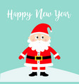 happy new year santa claus on snowdrift merry vector image