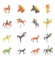 Horse icons set vector image