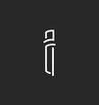 I letter logo thin line monogram mockup business vector image vector image