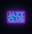 jazz club neon sign jazz music design vector image vector image