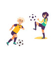 kids children boy and girl playing football vector image