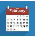 Leaf calendar 2017 with the month of February days vector image vector image