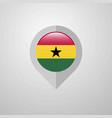 map navigation pointer with ghana flag design vector image vector image