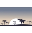 Mapusaurus on the field scenery silhouettes vector image